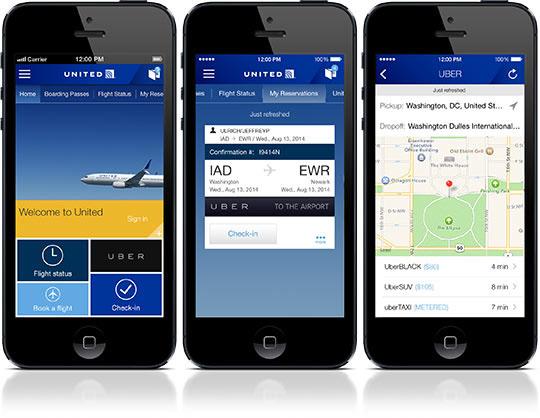 United Airlines ofrecer servicios de Uber a través de su app móvil